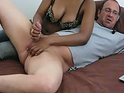 Wife giving me a handjob while on web cam