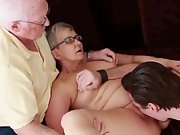 Aged mature couple first time swaying
