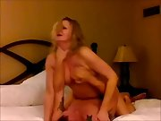 Blonde cheating milf orgasming on a stranger's dick as her husband films