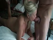 Witness a mature grandma giving head to her stud