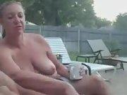 Wife observes me rub one out in backyard