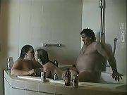 Hot youthful wives enjoy 3 way intercourse with an older man in the bathtub