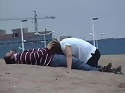 Super-naughty wife sucking hubby and drinking cum at the beach