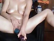 Sexy wifey enjoying herself all greased up
