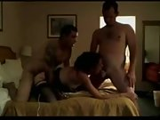 Hot wife fucks her spouse and his mate in a threesome