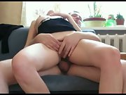 Hot wifey riding cock on sofa squirming making gorgeous noises orgasm