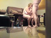 Hubby and wife penetrating each other in the lounge on the couch